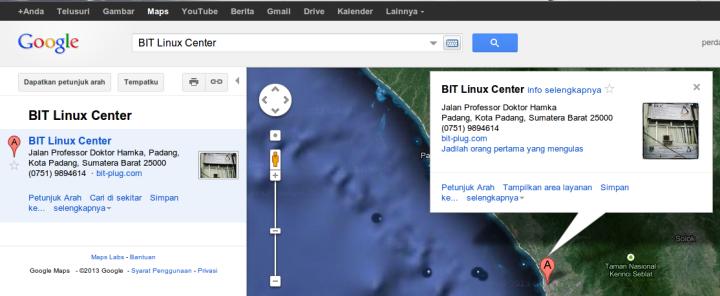 BIT Linux Center di Google Place for Business