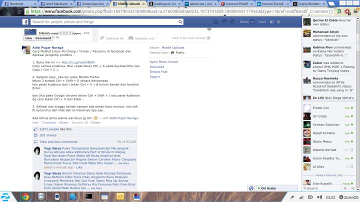Modus dapat melihat Inbox akun FB
