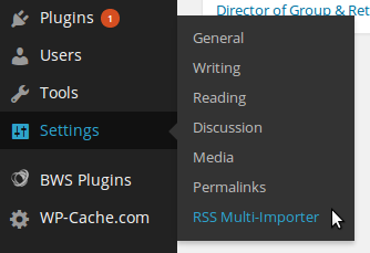 Klik Settings -> RSS Multi Importer