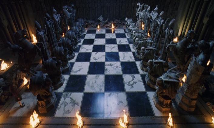 Bidak catur dalam film Harry Potter : the Sorcerer's Stone