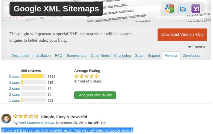 Bintang lima untuk Google XML Sitemaps