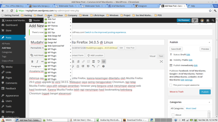 Hasil bookmarking di Chromium
