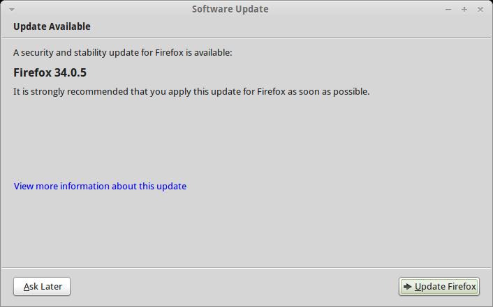 Permintaan Upgrade Mozilla Firefox 29 ke 34.0.5