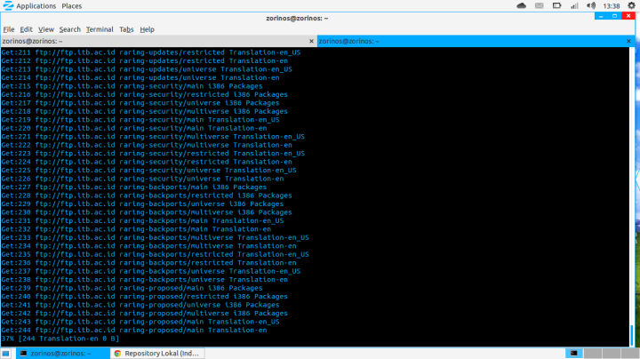 Linux Zorin OS 7 menggunakan repo Ubuntu 13.04