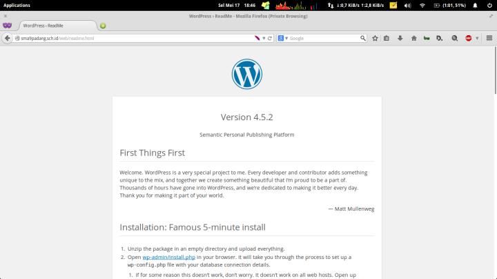 Versi web CMS WordPress telah berhasil di update
